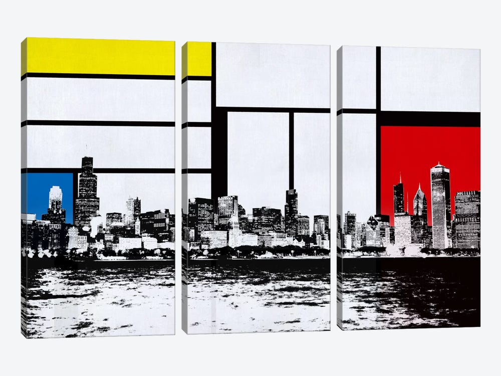 Chicago, Illinois Skyline with Primary Colors Background by iCanvas 3-piece Canvas Art Print