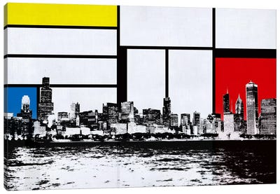 Chicago, Illinois Skyline with Primary Colors Background Canvas Art Print