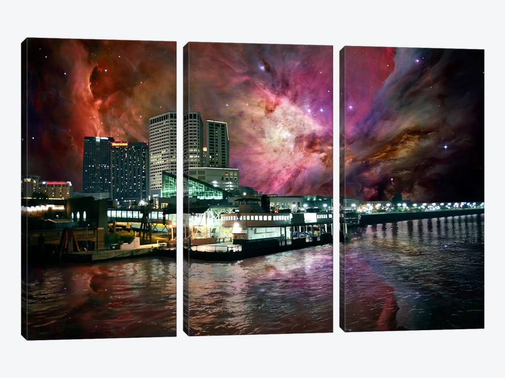 New Orleans, Louisiana Orion Nebula Skyline by 5by5collective 3-piece Art Print