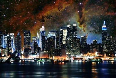 New York City New York Nebula Skyline Art Print 5by5collective Icanvas