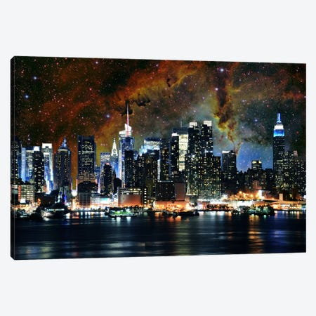 New York City, New York Nebula Skyline Canvas Print #SKY51} by 5by5collective Canvas Wall Art