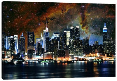 New York Nebula Skyline Canvas Art Print