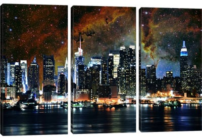 New York City, New York Nebula Skyline Canvas Art Print