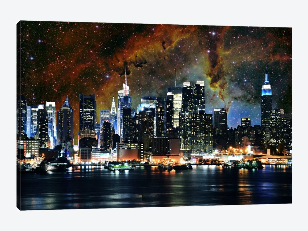 New York City, New York Nebula Skyline by 5by5collective 1-piece Canvas Art