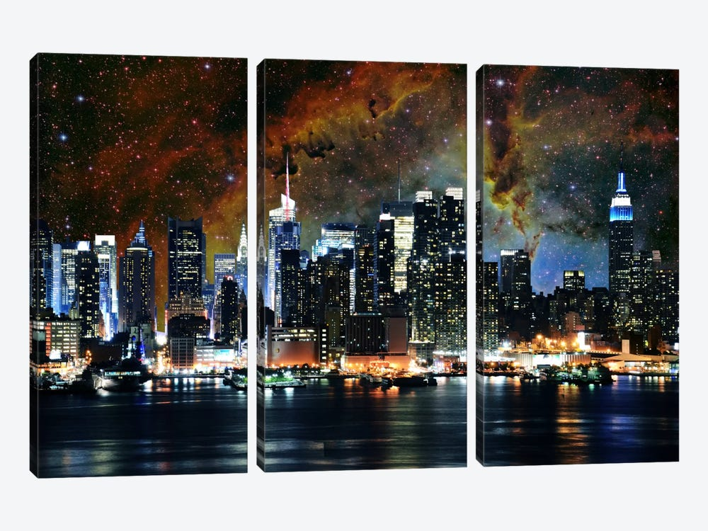 New York City, New York Nebula Skyline by 5by5collective 3-piece Canvas Artwork