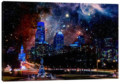 Philadelphia, Pennsylvania Carina Nebula Skyline Canvas Art Print
