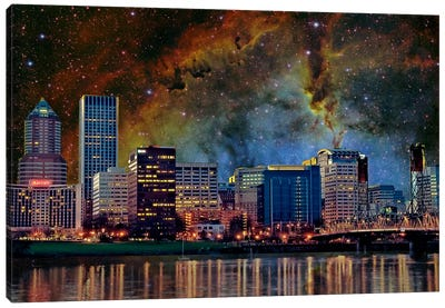 Portland, Oregon Elephant's Trunk Nebula Skyline Canvas Art Print