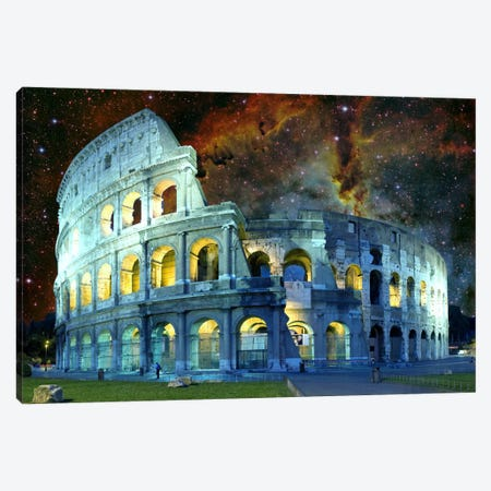 Rome (Colosseum), Italy Nebula Skyline Canvas Print #SKY57} by 5by5collective Canvas Art Print