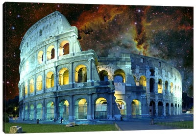 Rome, Italy Colosseum Nebula Skyline Canvas Art Print