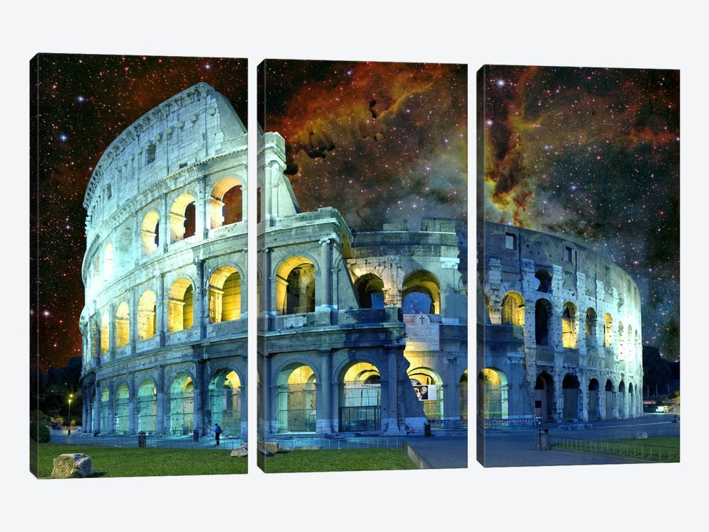 Rome, Italy Colosseum Nebula Skyline by iCanvas 3-piece Canvas Wall Art