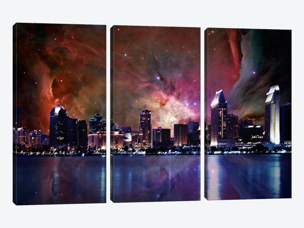 San Diego, California Orion Nebula Skyline by 5by5collective 3-piece Canvas Art