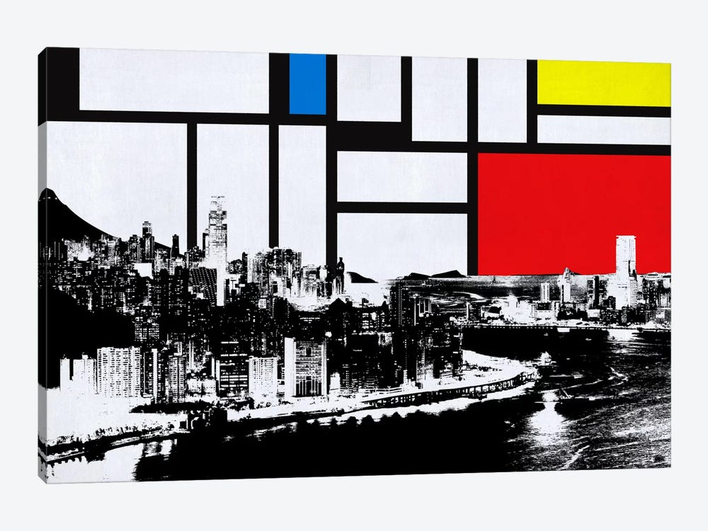 Honk Kong, China Skyline with Primary Colors Background by iCanvas 1-piece Canvas Wall Art