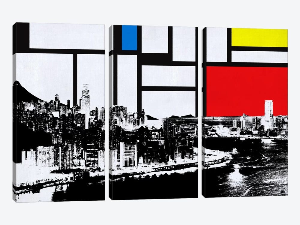 Honk Kong, China Skyline with Primary Colors Background by iCanvas 3-piece Canvas Artwork