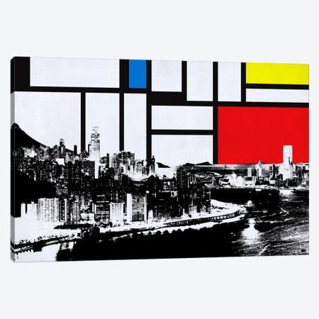 Honk Kong, China Skyline with Primary Colors Background Canvas Print #SKY5} by Unknown Artist Canvas Wall Art