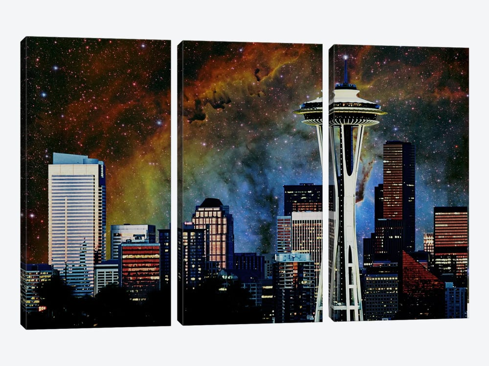 Seattle, Washington Elephant's Trunk Nebula Skyline by iCanvas 3-piece Canvas Art Print