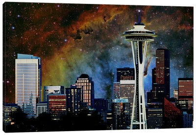 Seattle, Washington Elephant's Trunk Nebula Skyline Canvas Art Print