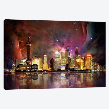 Shanghai, China Orion Nebula Skyline Canvas Print #SKY62} by 5by5collective Canvas Print
