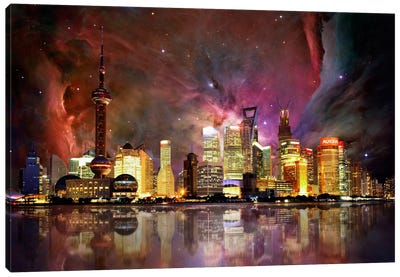 Shanghai, China Orion Nebula Skyline Canvas Art Print
