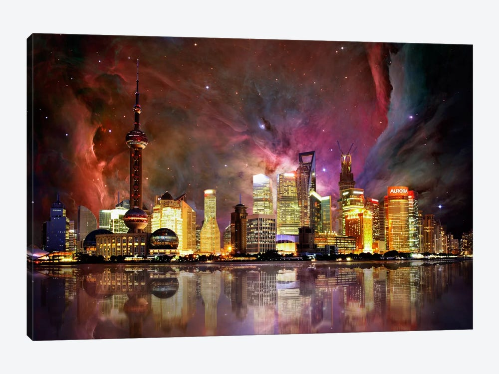 Shanghai, China Orion Nebula Skyline by 5by5collective 1-piece Canvas Wall Art