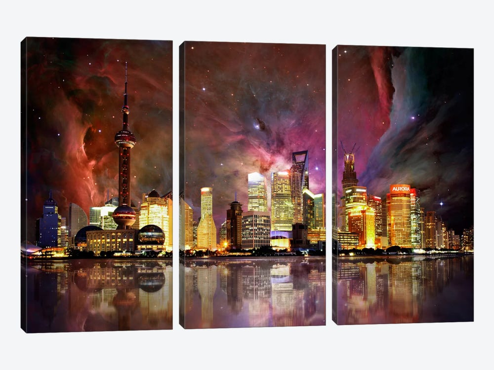 Shanghai, China Orion Nebula Skyline by iCanvas 3-piece Canvas Wall Art