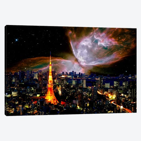 Tokyo, Japan Butterfly Nebula Skyline Canvas Print #SKY64} by 5by5collective Canvas Wall Art