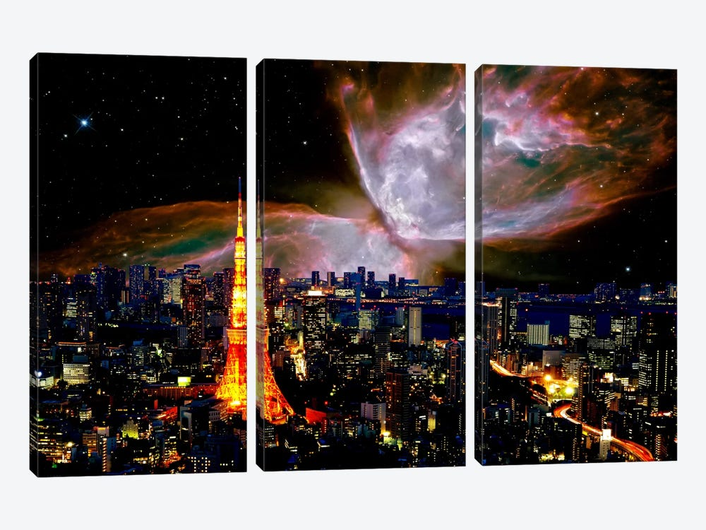 Tokyo, Japan Butterfly Nebula Skyline by iCanvas 3-piece Canvas Artwork