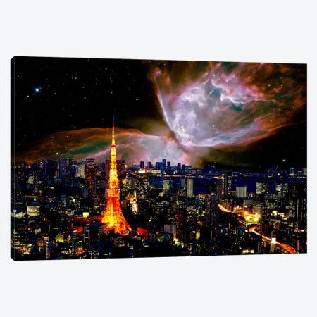 Tokyo, Japan Butterfly Nebula Skyline Canvas Print #SKY64} by 5by5collective Canvas Wall Art