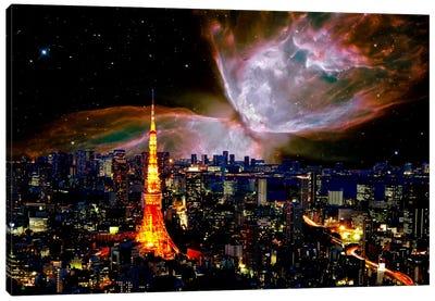 Tokyo, Japan Butterfly Nebula Skyline Canvas Art Print