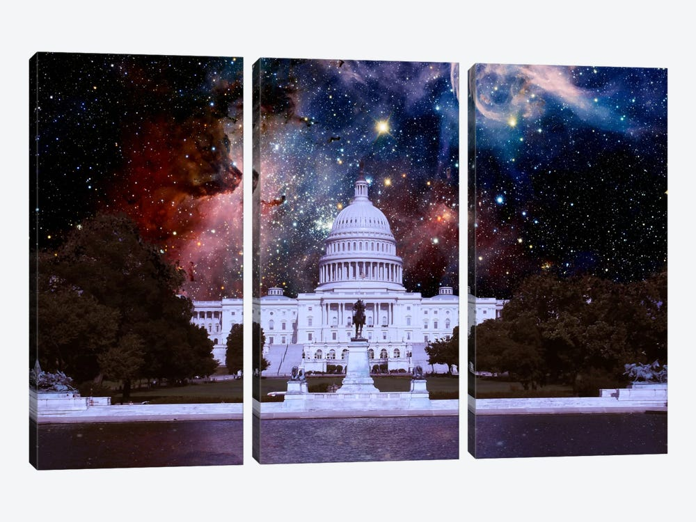 Washington, D.C. Carina Nebula Skyline by 5by5collective 3-piece Canvas Wall Art