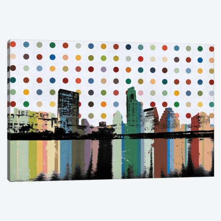 Austin, Texas Colorful Polka Dot Skyline Canvas Print #SKY67} by iCanvas Canvas Art