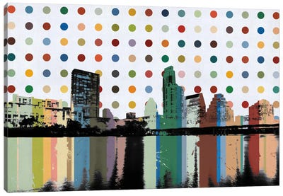 Austin, Texas Colorful Polka Dot Skyline Canvas Print #SKY67