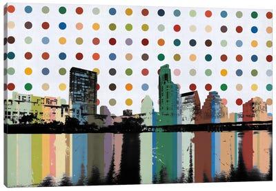 Austin, Texas Colorful Polka Dot Skyline Canvas Art Print