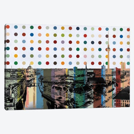 Berlin, Germany Colorful Polka Dot Skyline Canvas Print #SKY68} by iCanvas Canvas Art Print