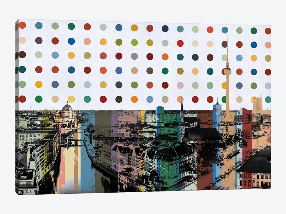 Berlin, Germany Colorful Polka Dot Skyline by iCanvas 1-piece Canvas Art