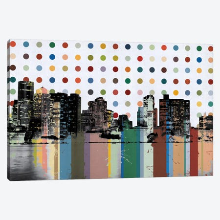 Boston, Massachusetts Colorful Polka Dot Skyline Canvas Print #SKY69} by Unknown Artist Canvas Art Print