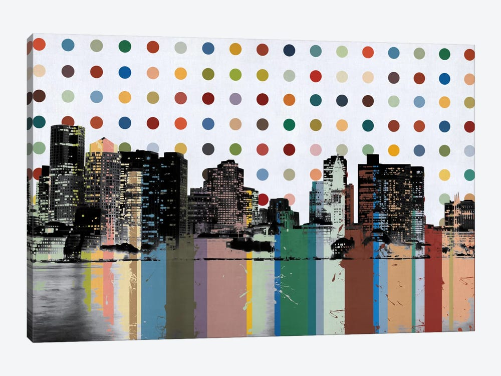 Boston, Massachusetts Colorful Polka Dot Skyline by iCanvas 1-piece Canvas Art Print