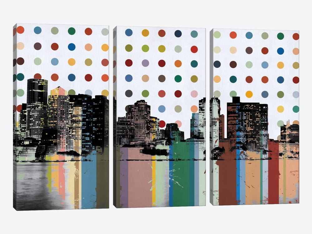 Boston, Massachusetts Colorful Polka Dot Skyline by iCanvas 3-piece Canvas Art Print