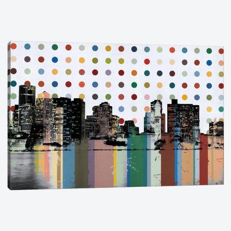 Boston, Massachusetts Colorful Polka Dot Skyline Canvas Print #SKY69} by Unknown Artist Canvas Art Print