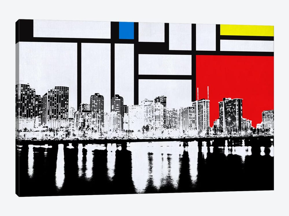 Honolulu, Hawaii Skyline with Primary Colors Background by Unknown Artist 1-piece Art Print