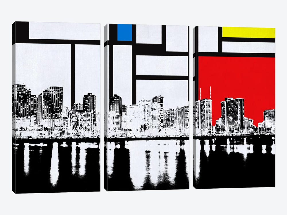Honolulu, Hawaii Skyline with Primary Colors Background by iCanvas 3-piece Canvas Art Print