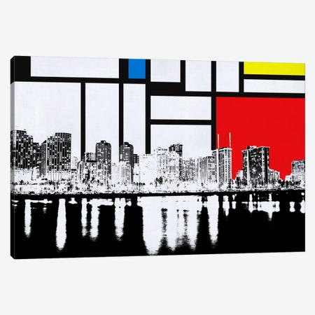 Honolulu, Hawaii Skyline with Primary Colors Background Canvas Print #SKY6} by Unknown Artist Canvas Wall Art