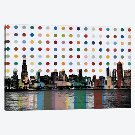 Chicago, Illinois Colorful Polka Dot Skyline Canvas Print #SKY70} by Unknown Artist Canvas Artwork