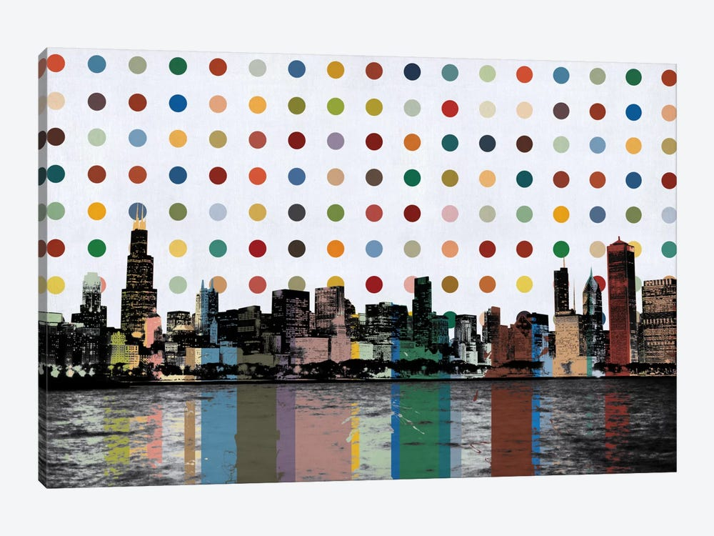 Chicago, Illinois Colorful Polka Dot Skyline by iCanvas 1-piece Art Print