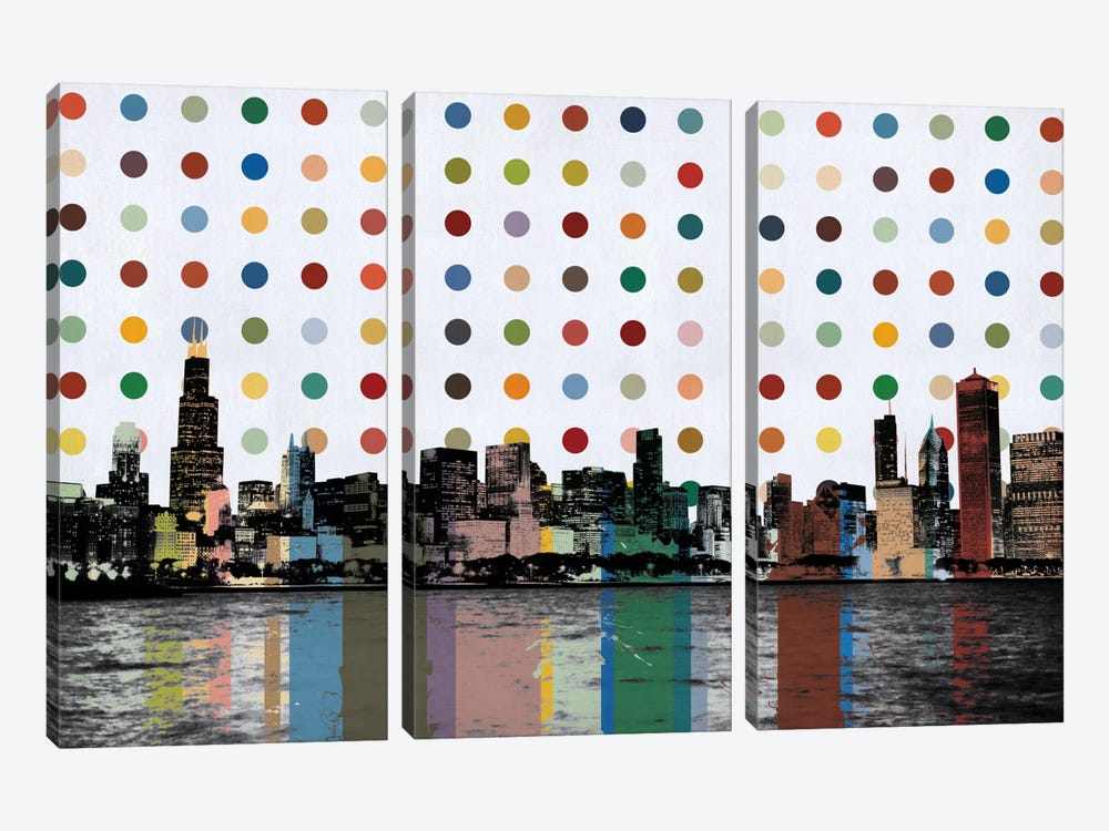 Chicago, Illinois Colorful Polka Dot Skyline by iCanvas 3-piece Art Print