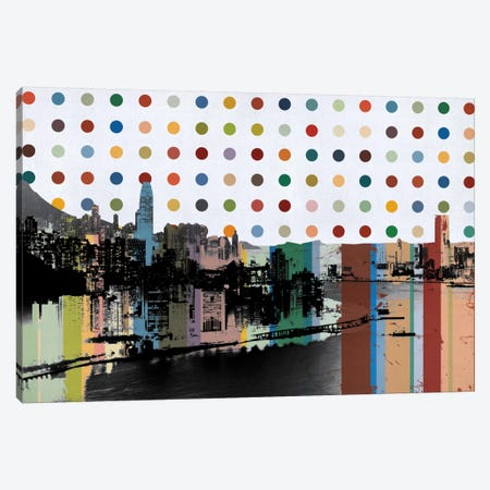 Hong Kong, China Colorful Polka Dot Skyline Canvas Print #SKY71} by Unknown Artist Canvas Wall Art