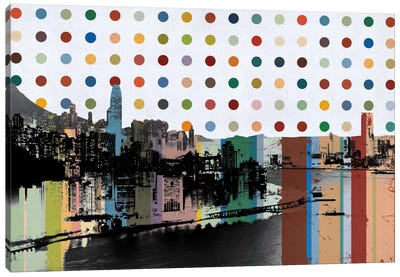 Hong Kong, China Colorful Polka Dot Skyline Canvas Art Print