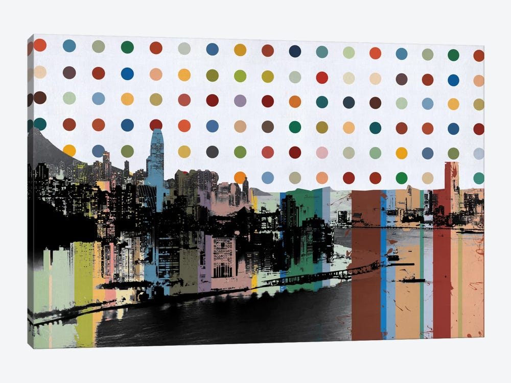 Hong Kong, China Colorful Polka Dot Skyline by Unknown Artist 1-piece Canvas Wall Art