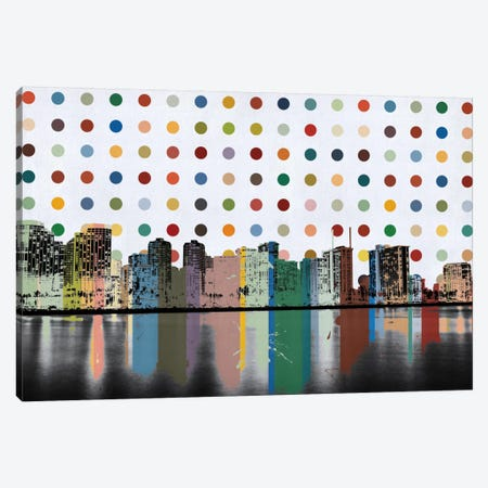 Honolulu, Hawaii Colorful Polka Dot Skyline Canvas Print #SKY72} by Unknown Artist Canvas Wall Art
