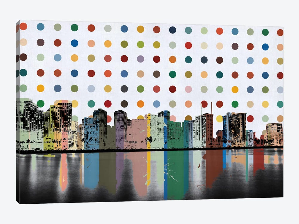 Honolulu, Hawaii Colorful Polka Dot Skyline by iCanvas 1-piece Canvas Art Print