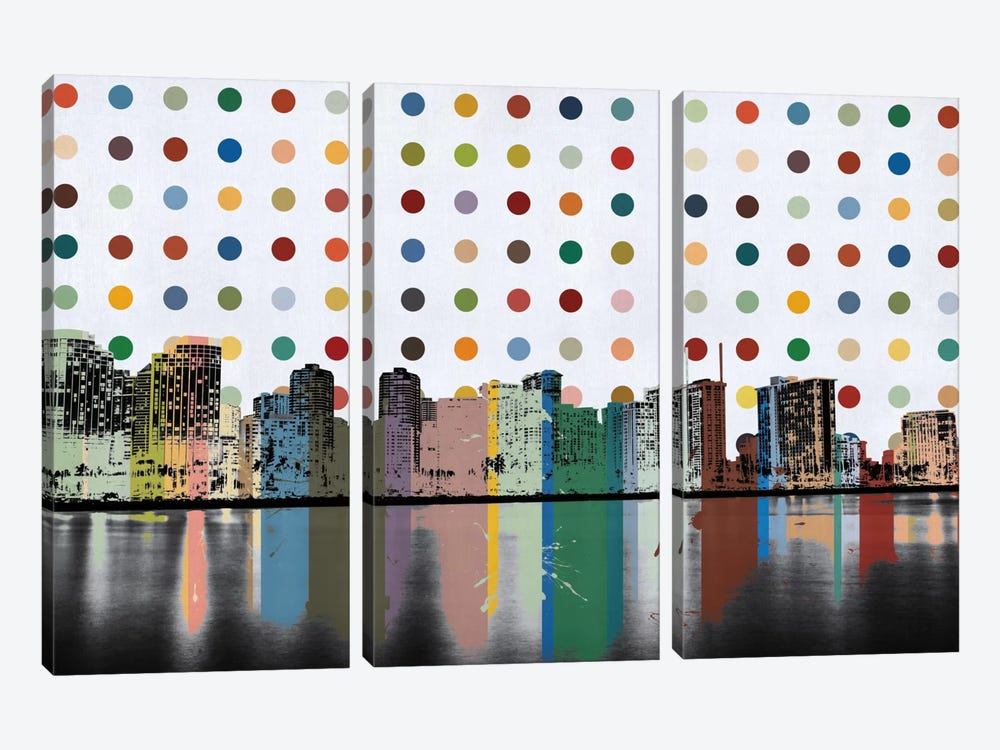 Honolulu, Hawaii Colorful Polka Dot Skyline by iCanvas 3-piece Art Print